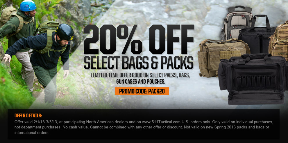 20% Off Select Bags and Packs - Promo code: PACK20