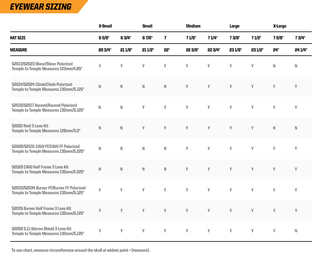 Download the eyewear sizing chart here
